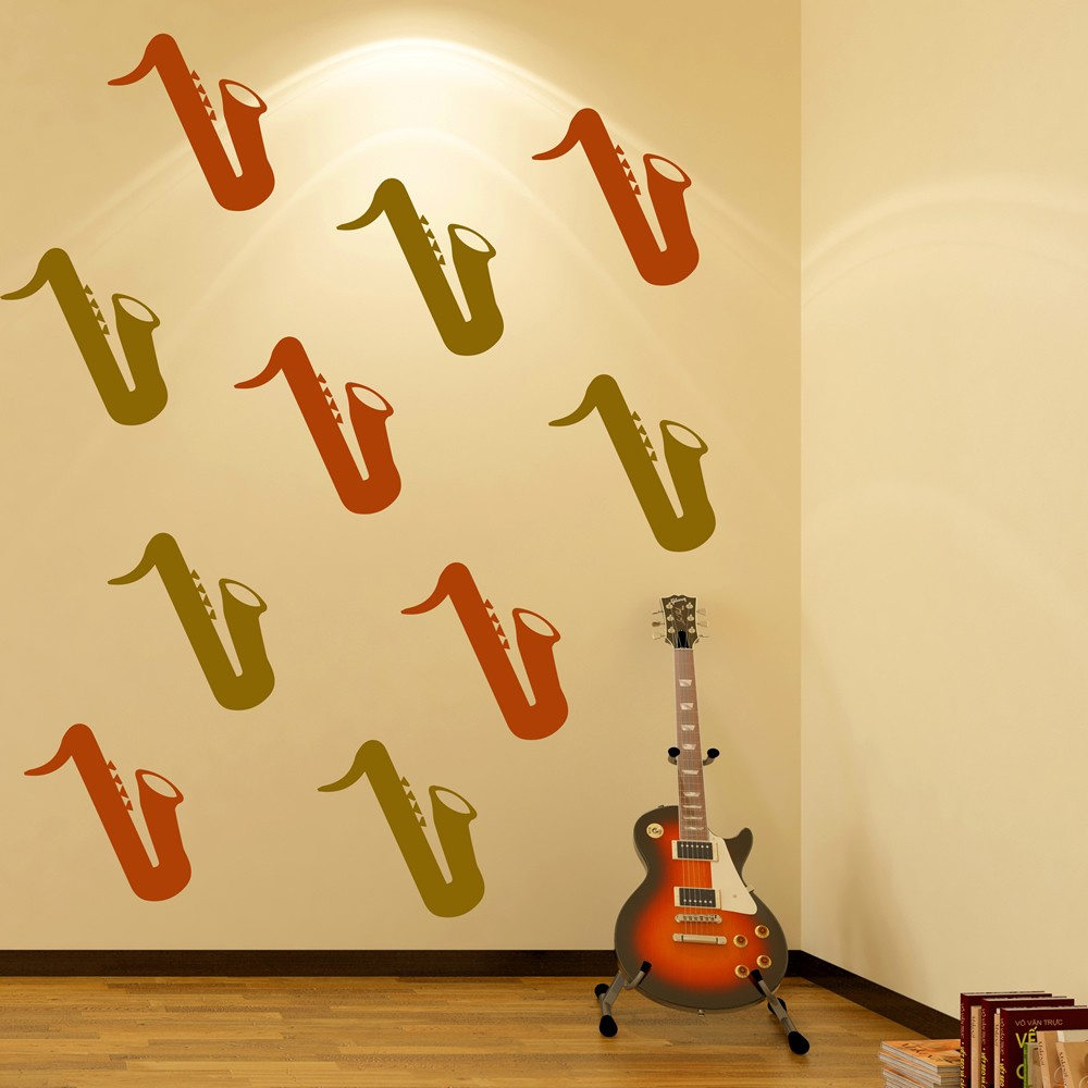 Saxophone Silhouette Wall Stickers Creative Multi Pack Wall Decal Art