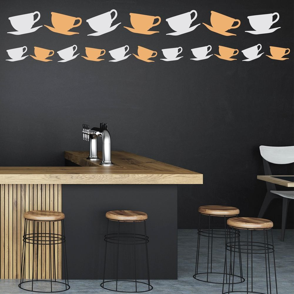 Tea coffee drinking refreshments wall stickers tea cup and saucer food and drink creative multipack wall stickers art decals amipublicfo Images