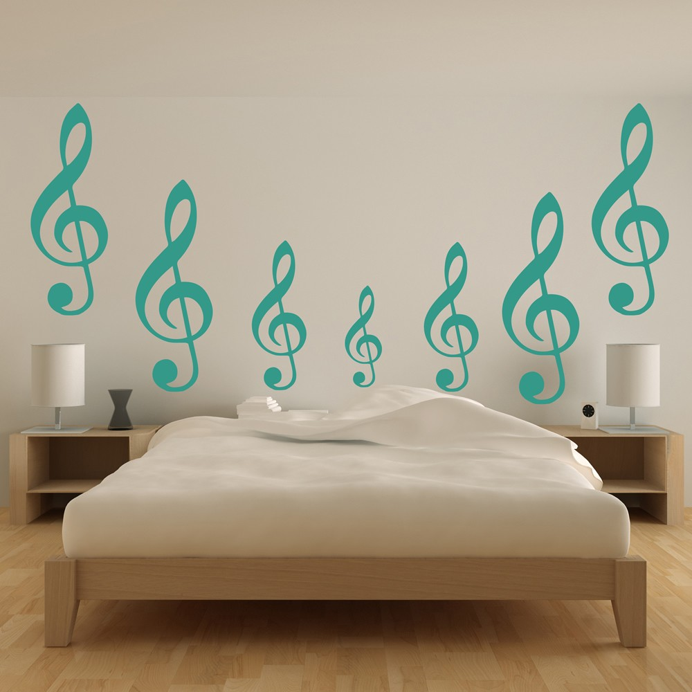 sport wall stickers sport wall art with 30 colours of each treble clef musical notes instruments creative multipack wall stickers decals