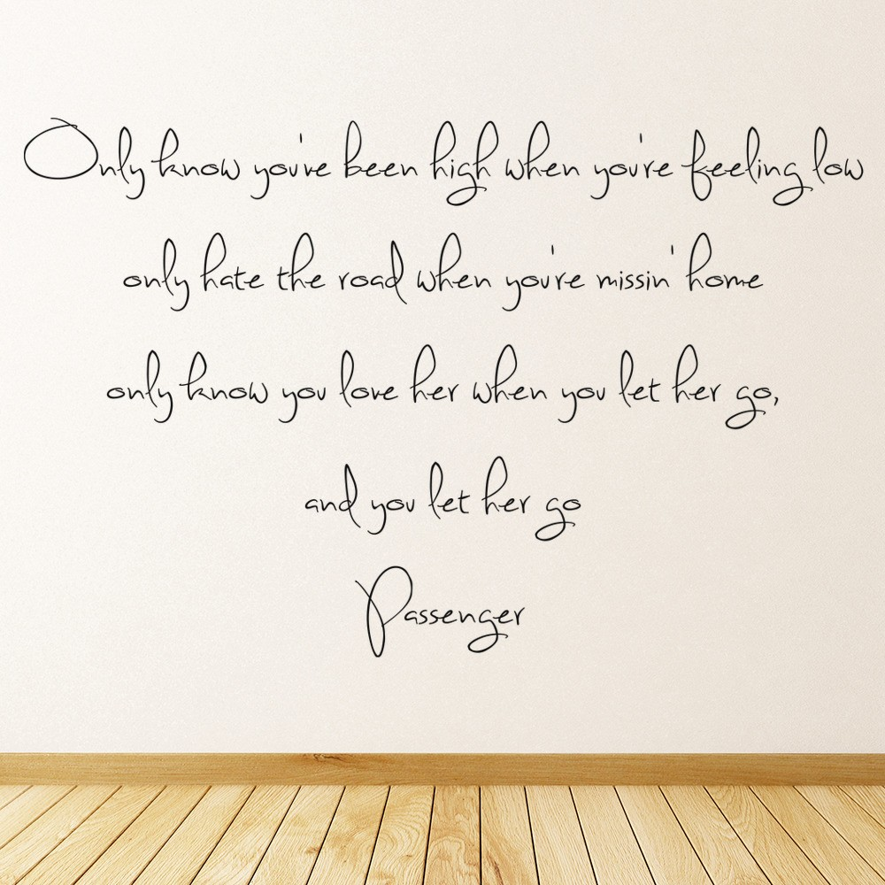 Passenger Wall Sticker Let Her Go Wall Decal Music Song