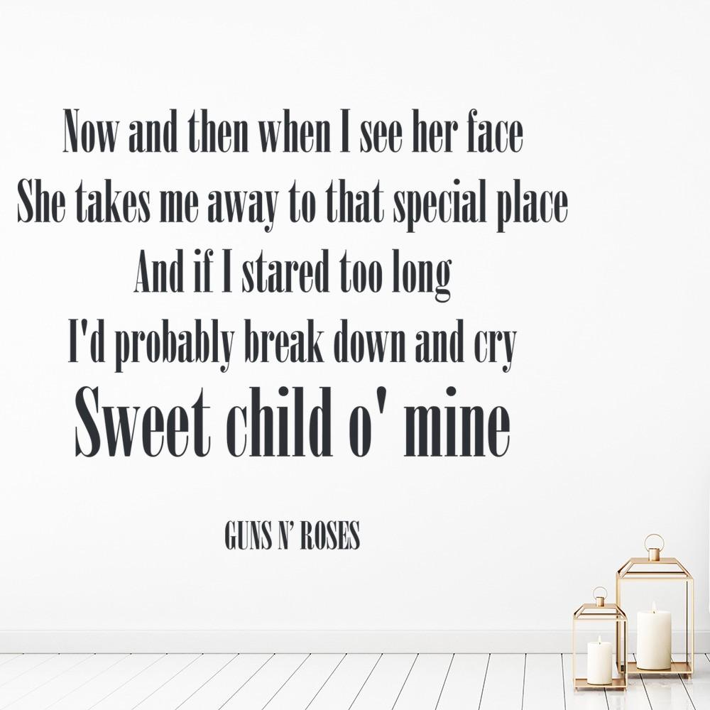 Guns N Roses Wall Sticker Sweet Child O Mine Wall Decal