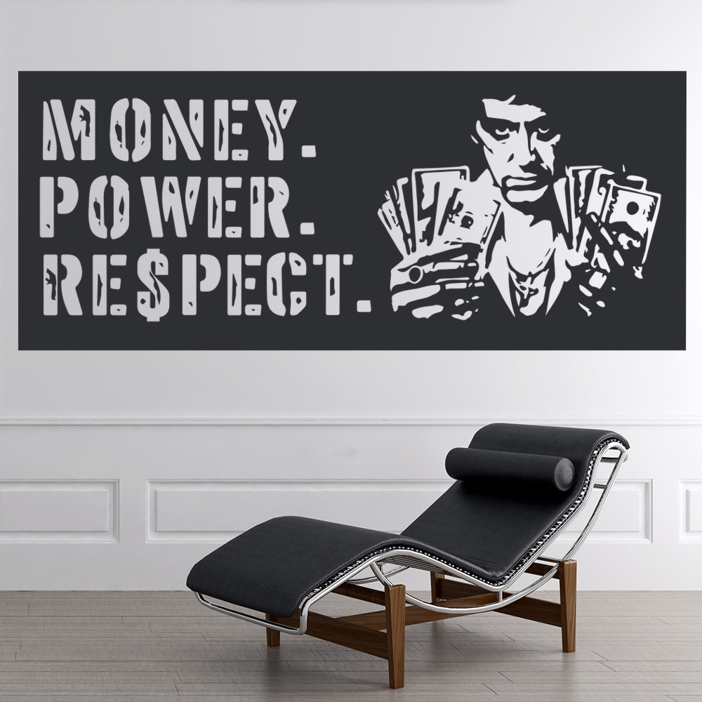 Scarface money power respect vinyl wall decal for home decore - Money Power Respect Scarface Crime Thriller Tv Movie Wall Stickers Home Decals