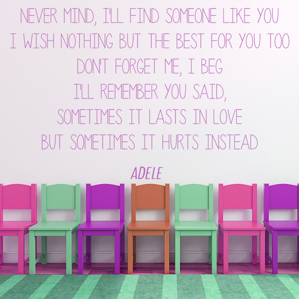 Someone like you wall sticker adele song lyrics wall decal bedroom home decor