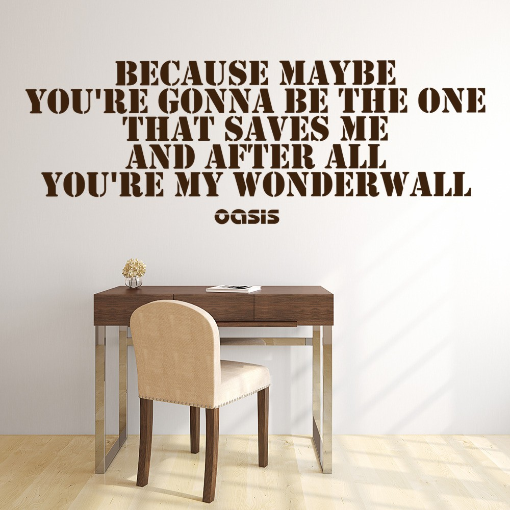 Wonderwall Wall Sticker Oasis Music Wall Decal Song Lyrics