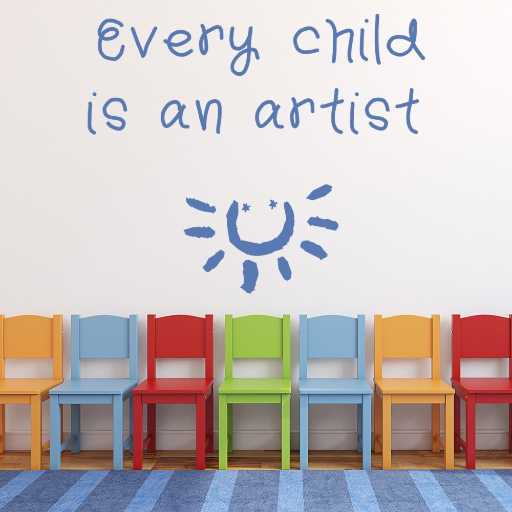 every child is an artist Wall Sticker Inspirational Quotes Wall Art