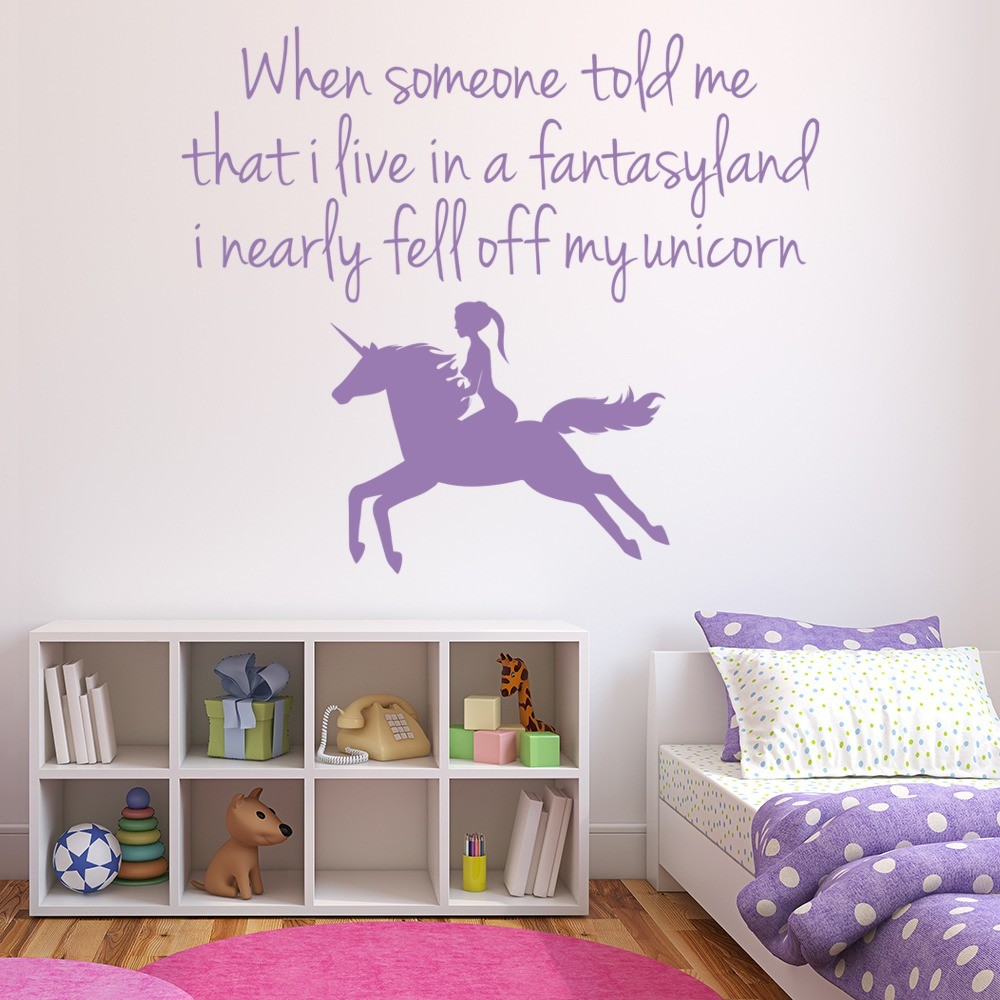 Fell Off My Unicorn Wall Sticker Girls Bedroom Quote Wall
