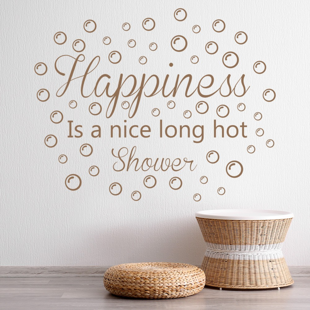 Beautiful Happiness Is A Nice Long Hot Shower Wall Quote Wall Stickers Bathroom Art  Decals Awesome Design