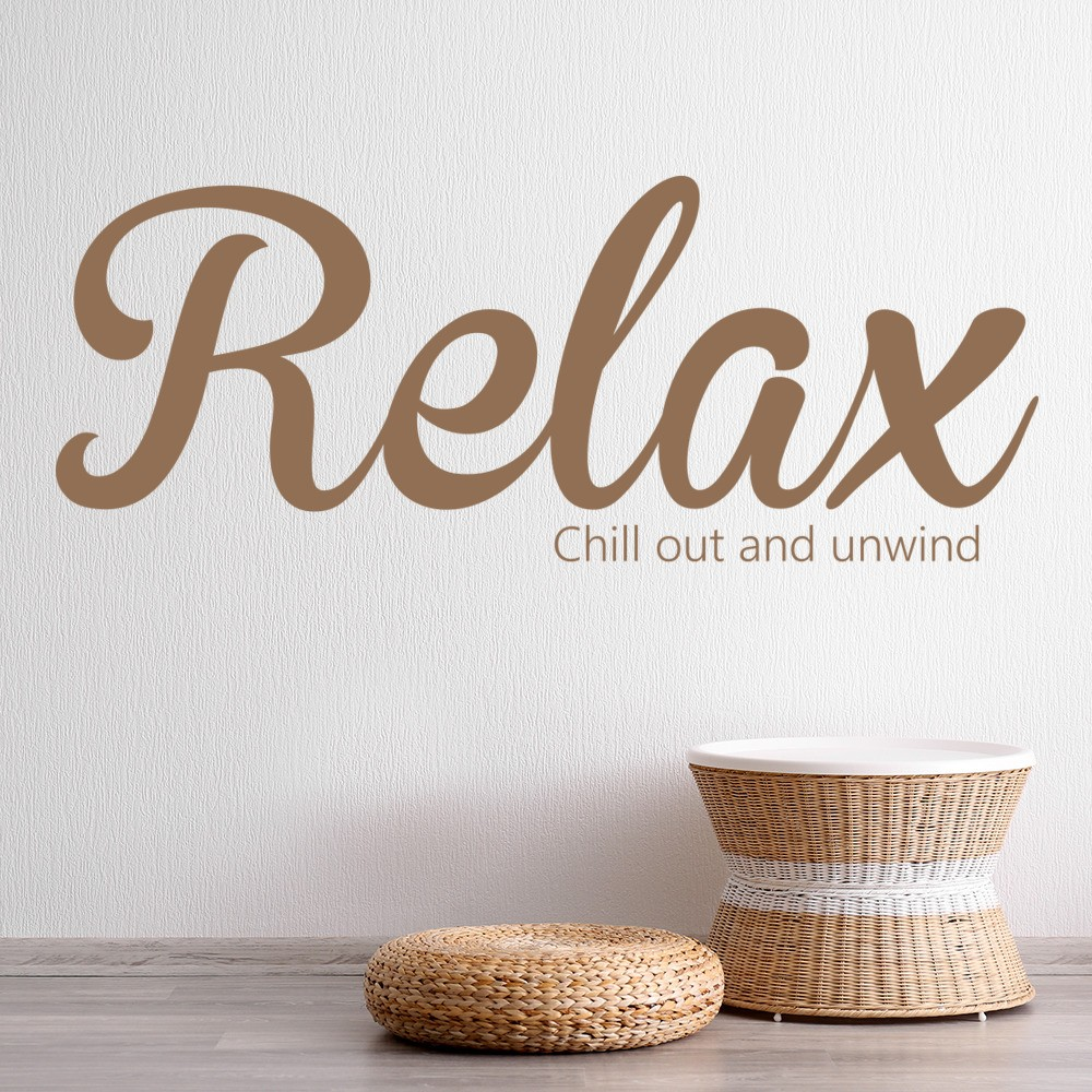 Relax Wall Sticker Bathroom Quote Wall Decal Chill Out