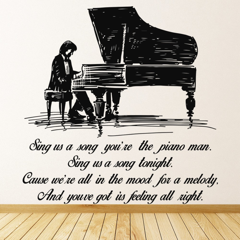 song lyric quotes wall stickers iconwallstickers co uk piano man billy joel grand piano song lyrics wall sticker music decor art decals