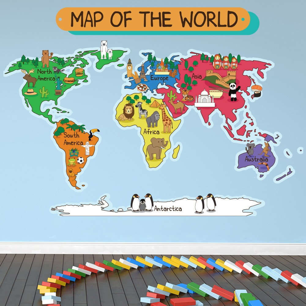 Kids wall stickers iconwallstickers animal world map wall sticker world map wall decal kids bedroom home decor gumiabroncs Choice Image