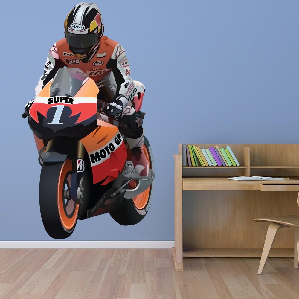 Flaming Motorcycle Motorbike Wall Sticker WS-15342