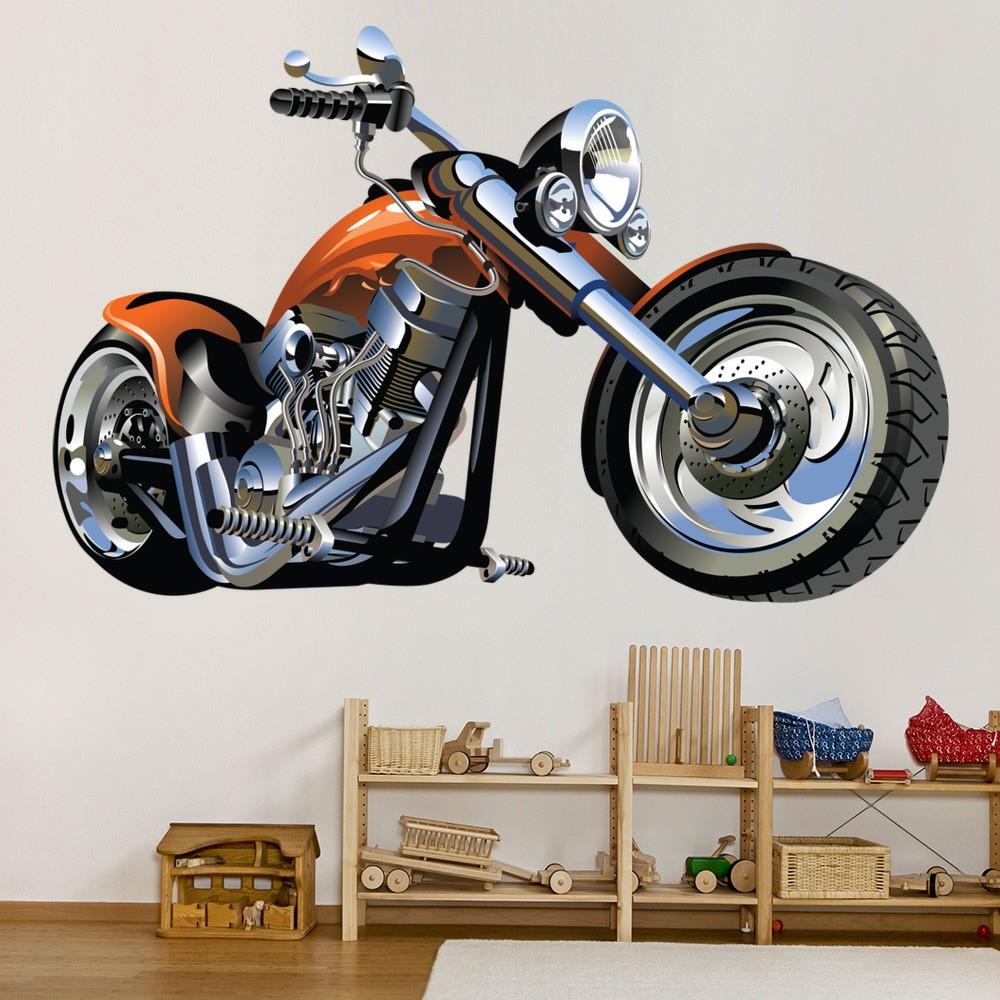 Orange chopper motorbike wall sticker