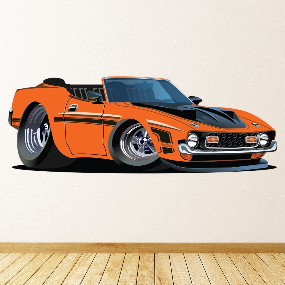 Orange Dodge Wall Sticker Classic Car Wall Decal Boys