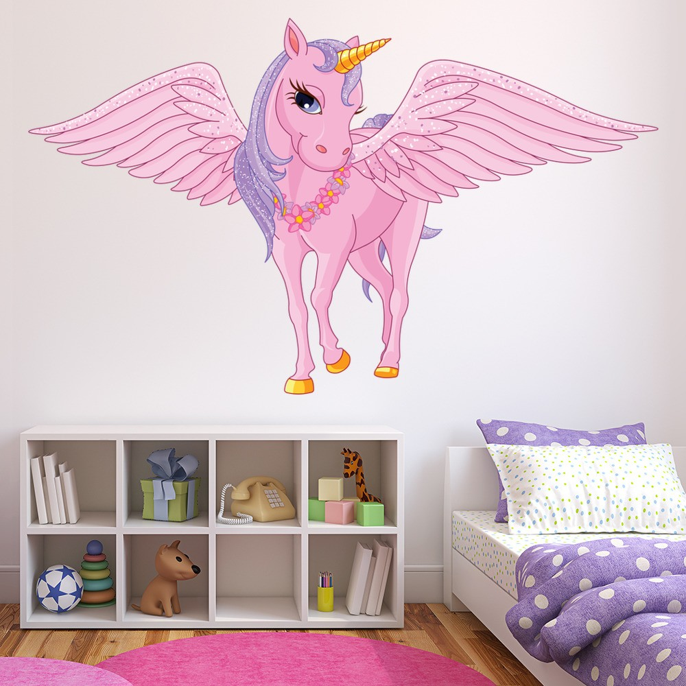 Pink Unicorn Wall Sticker Fairy Tale Fantasy Wall Decal