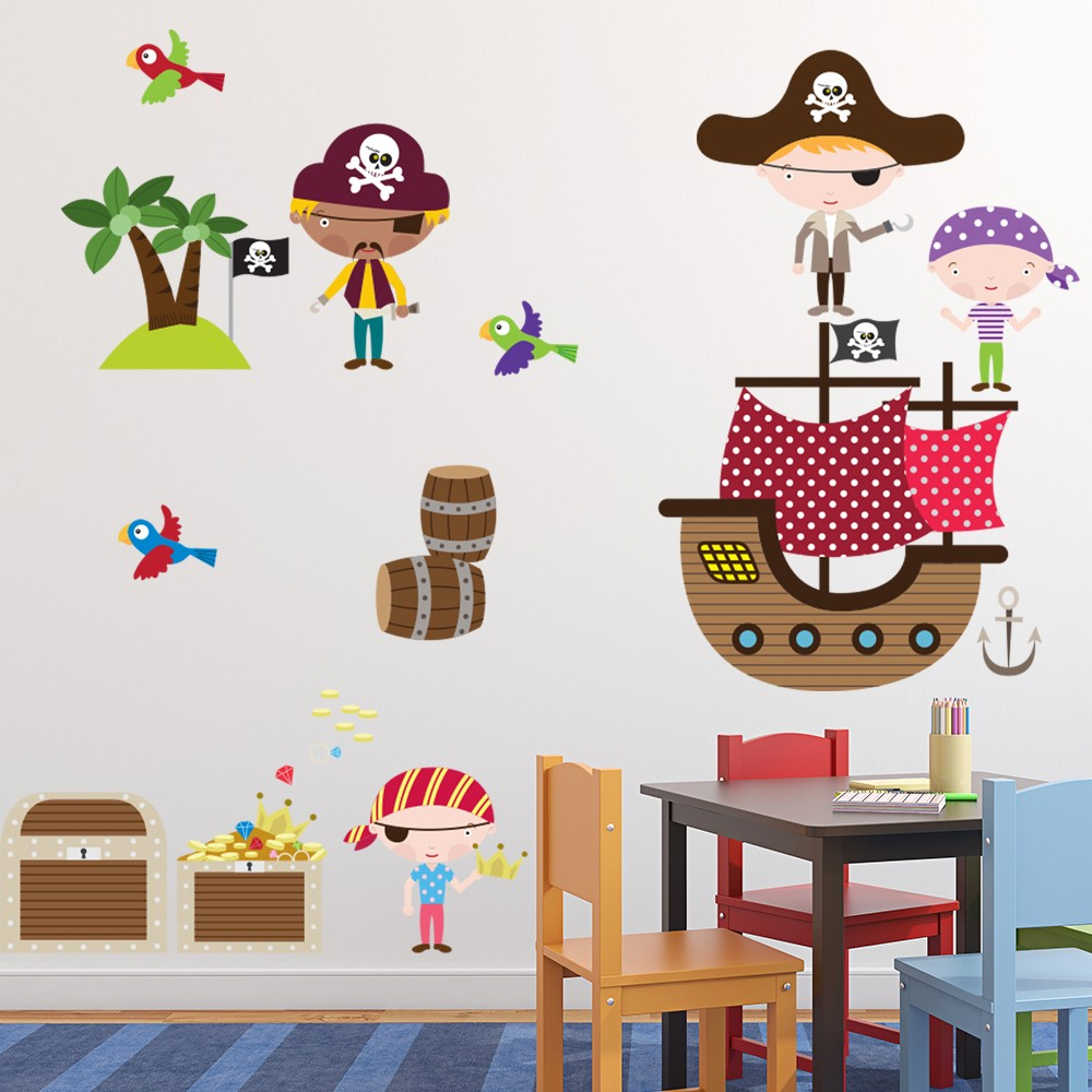 Bedroom Wall Art Uk Art For Bedroom Wall Bedroom Wall Decor For Teenagers Boy Bedroom For Baby Boy: Pirate Ship Wall Sticker Set Treasure Pirate Wall Decal Kids Bedroom Home Decor