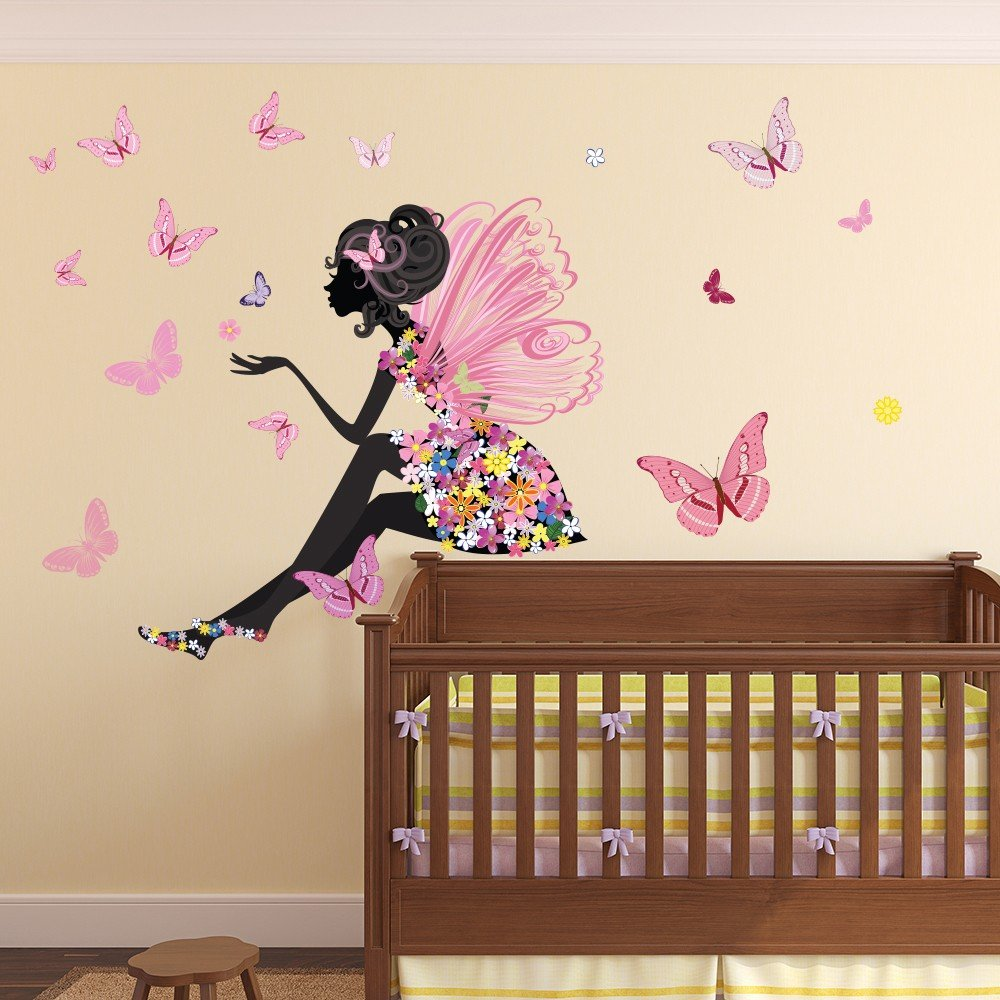 flower fairy wall sticker scene butterfly wall decal girls room nursery decor. Black Bedroom Furniture Sets. Home Design Ideas