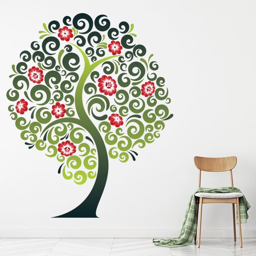 green tree wall sticker red flower wall decal living room