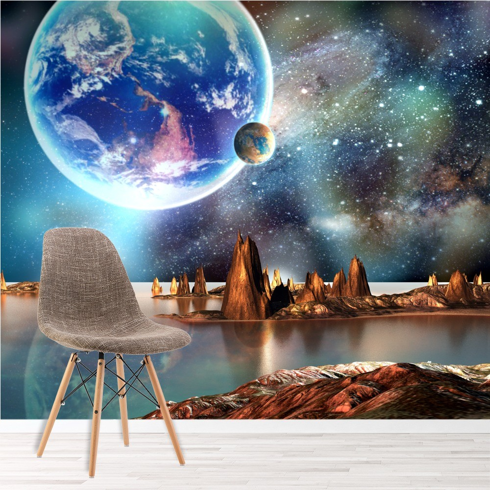 Alien Landscape Wall Mural Planets Space Photo Wallpaper