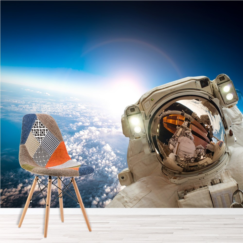 Astronaut Amp Earth Space Wall Mural Wallpaper