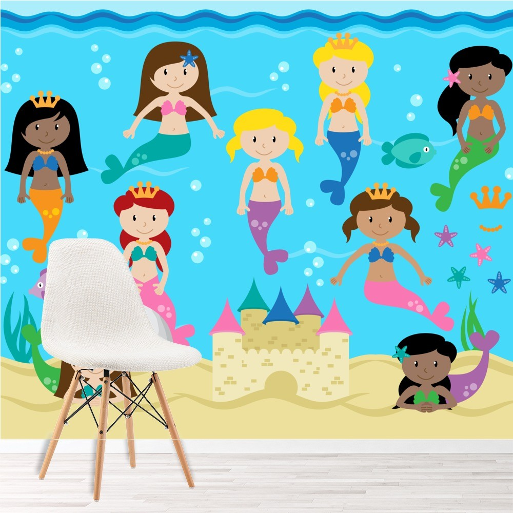 Mermaid Wall Mural Under The Sea Photo Wallpaper Girls