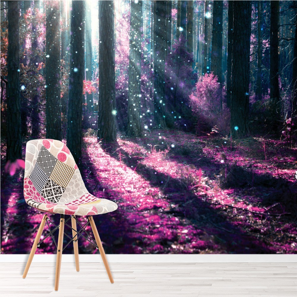 Enchanted forest wall mural purple tree photo wallpaper for Enchanted forest mural wallpaper