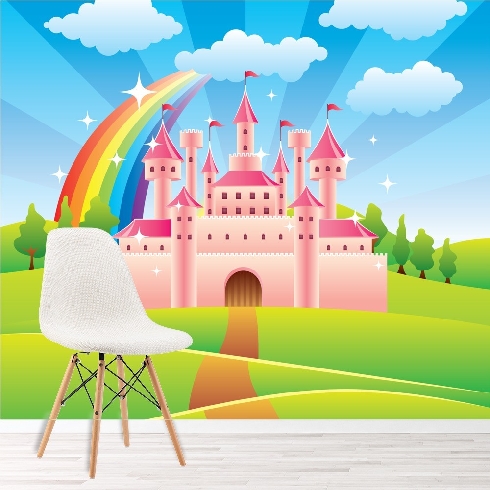 Pink princess castle wall mural fairytale rainbow photo for Castle mural kids room