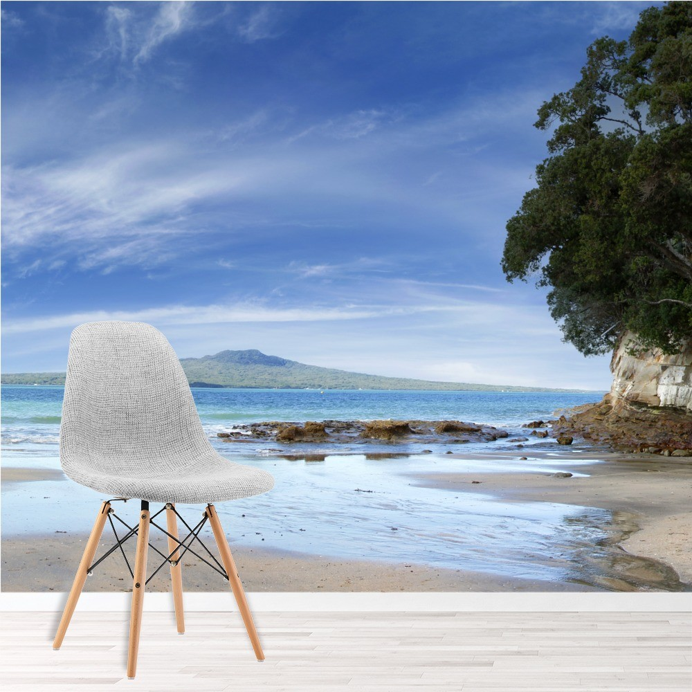 Tropical Beach And Peaceful Ocean: Tropical Beach & Ocean Panoramic Wall Mural Wallpaper