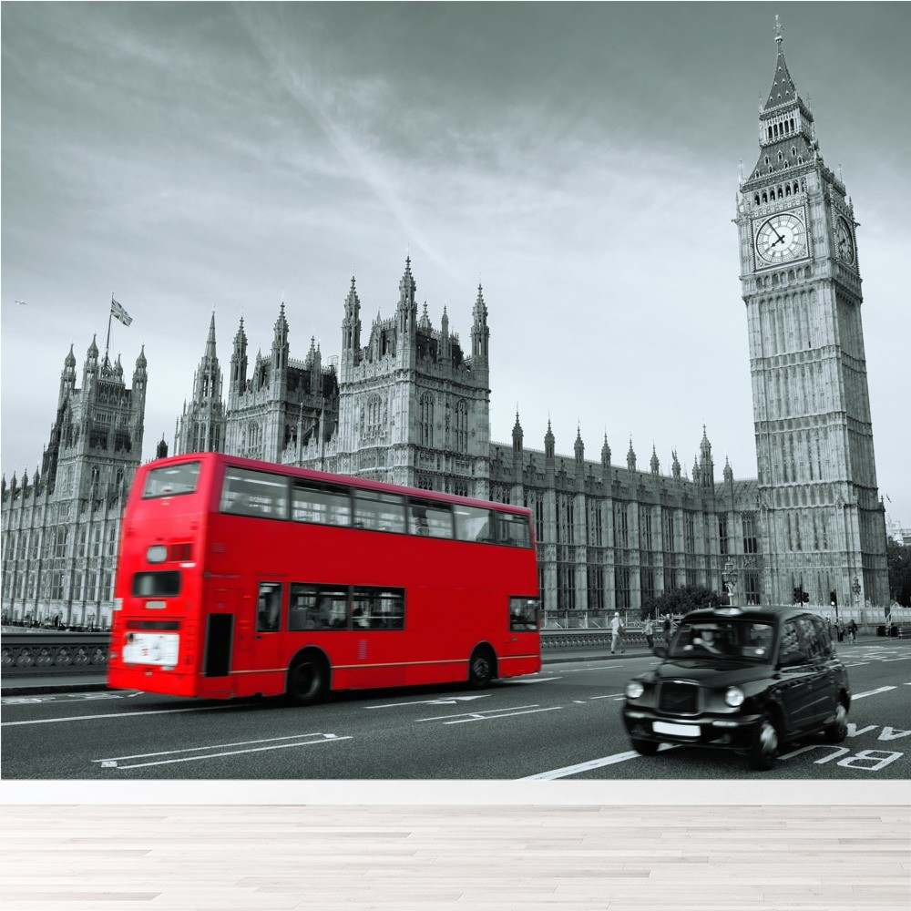 Red London Bus Wall Mural Wallpaper