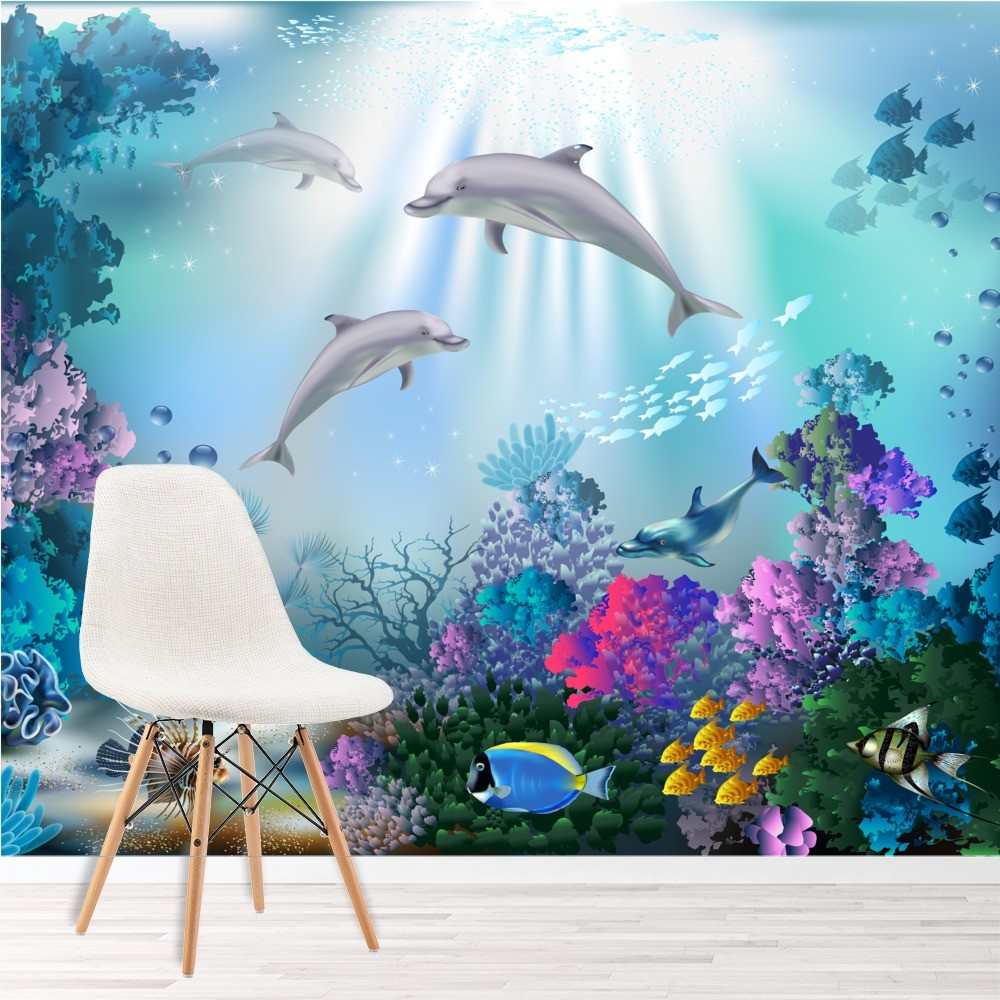 Dolphin Wall Mural Under The Sea Photo Wallpaper Girls