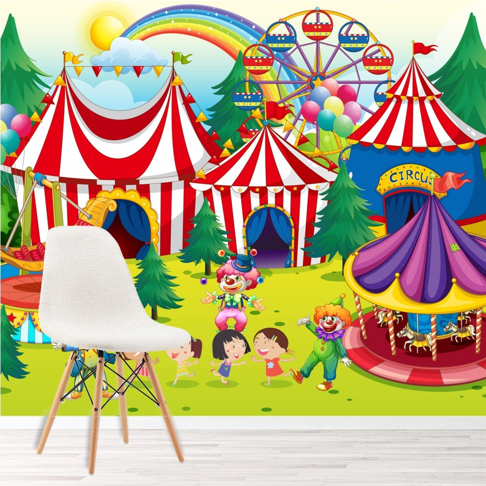 Circus Wall Mural Fairground Photo Wallpaper Kids Bedroom