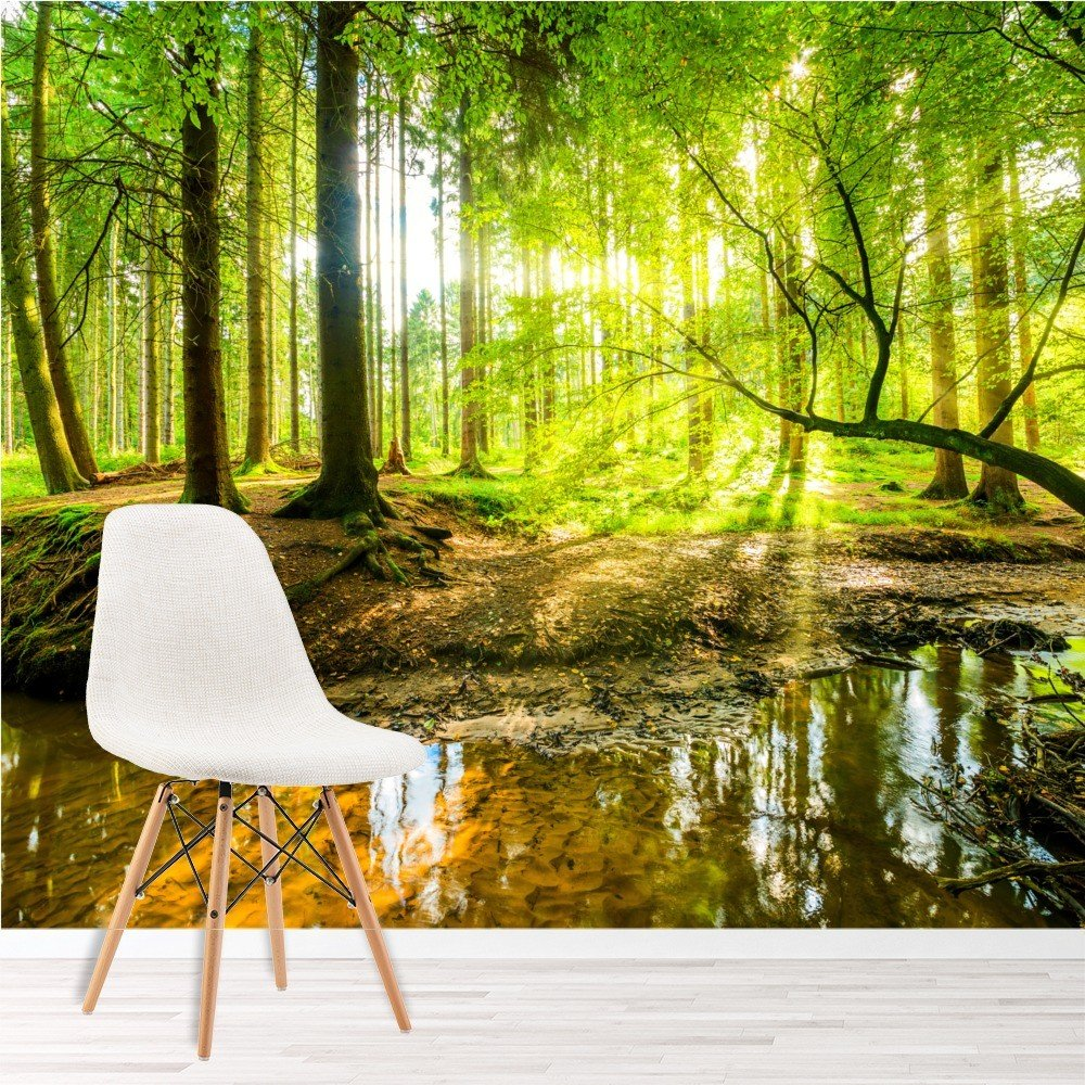 Green Trees Forest Wall Mural Wallpaper