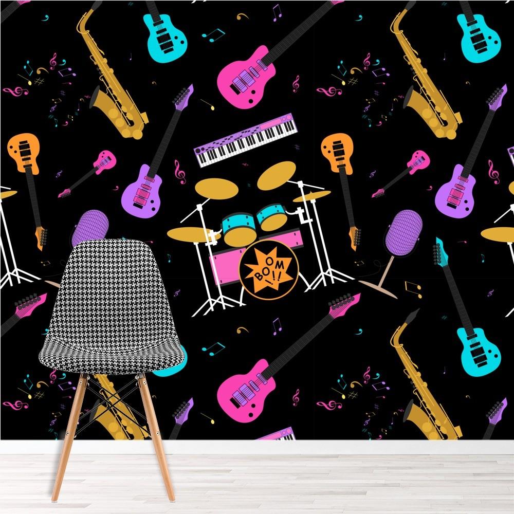 Drums Saxophone Music Wall Mural Wallpaper