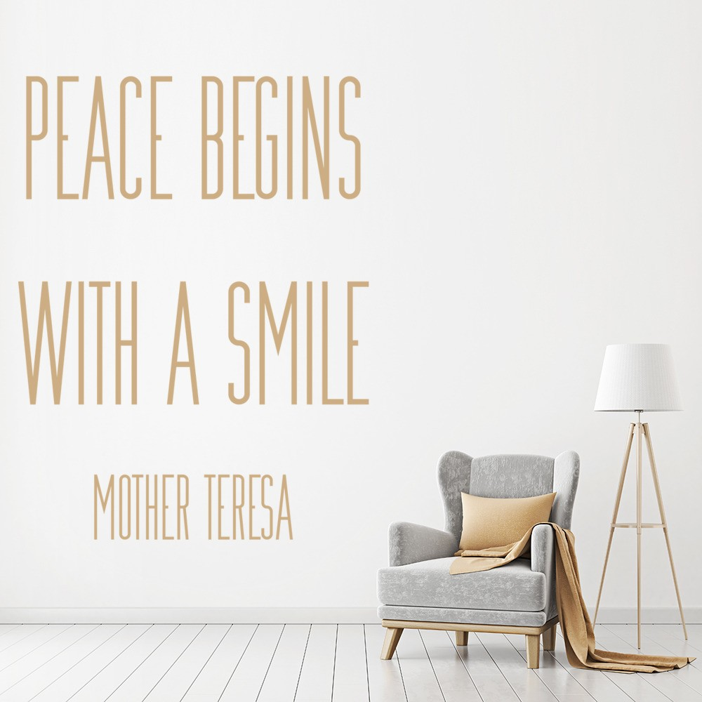 Peace Begins Wall Sticker Mother Teresa Quote Wall Decal Bedroom ...