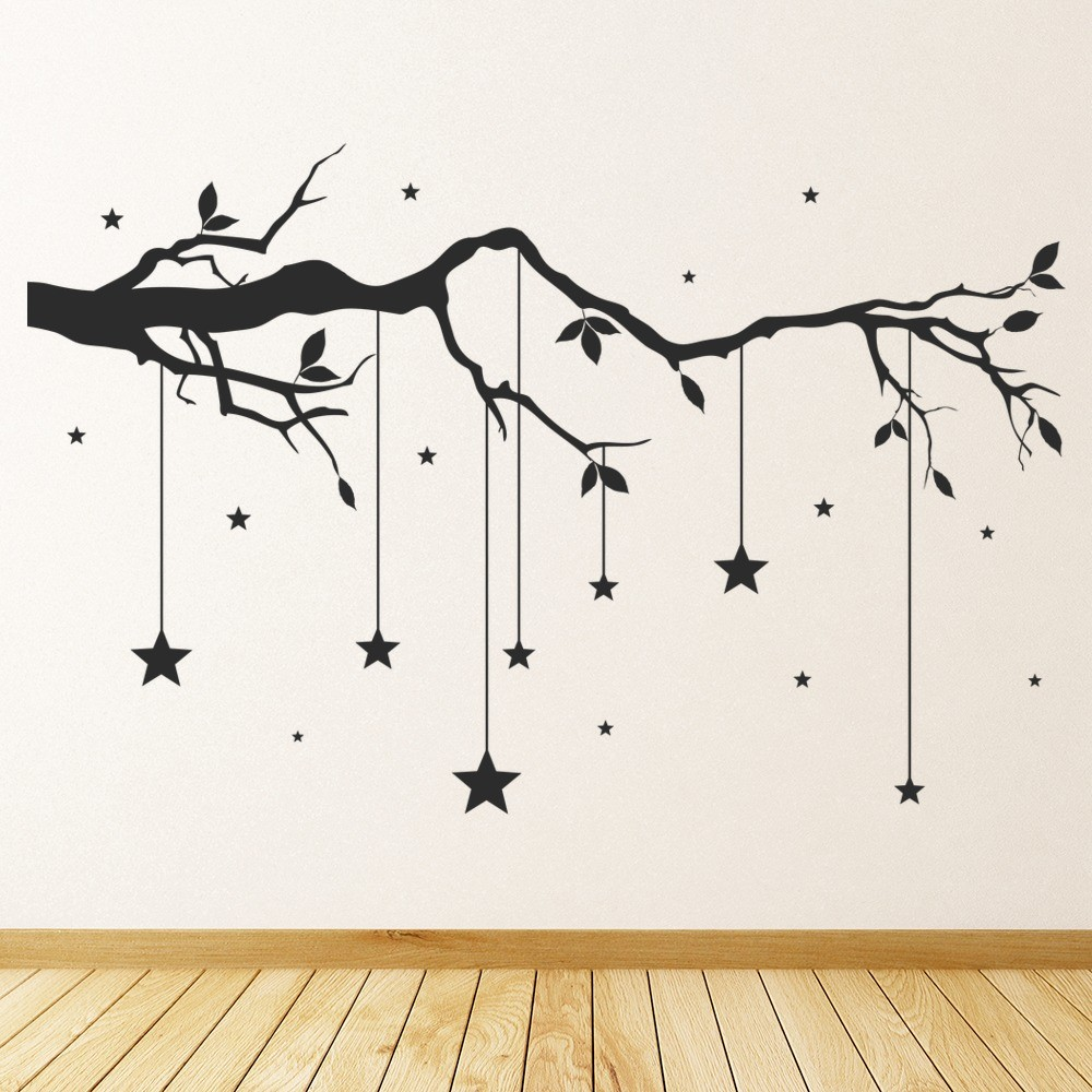 Tree Branch Wall Sticker Hanging Stars Wall Decal Baby Nursery Home Decor