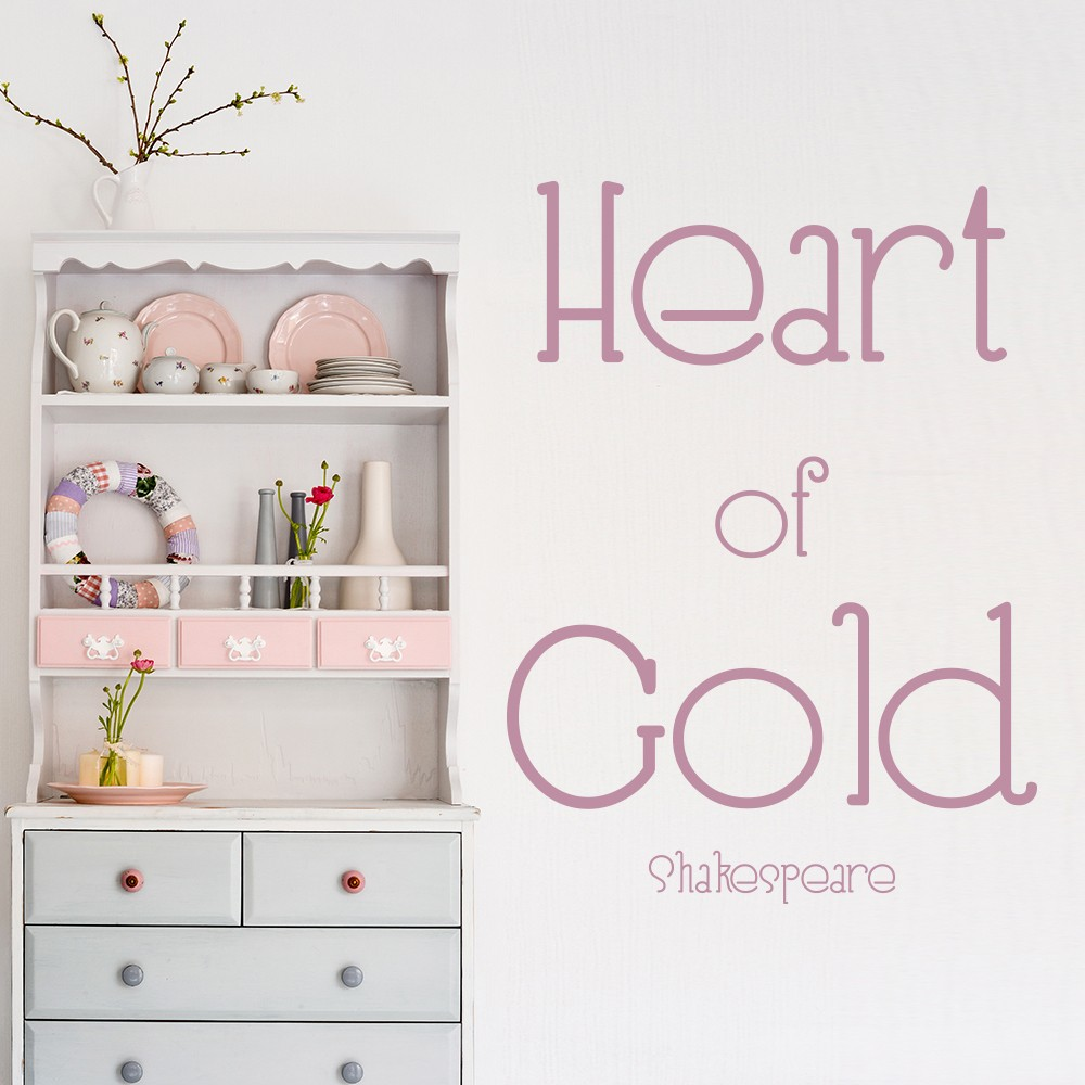 Heart Of Gold Wall Sticker Love Quote Wall Decal William Shakespeare ...