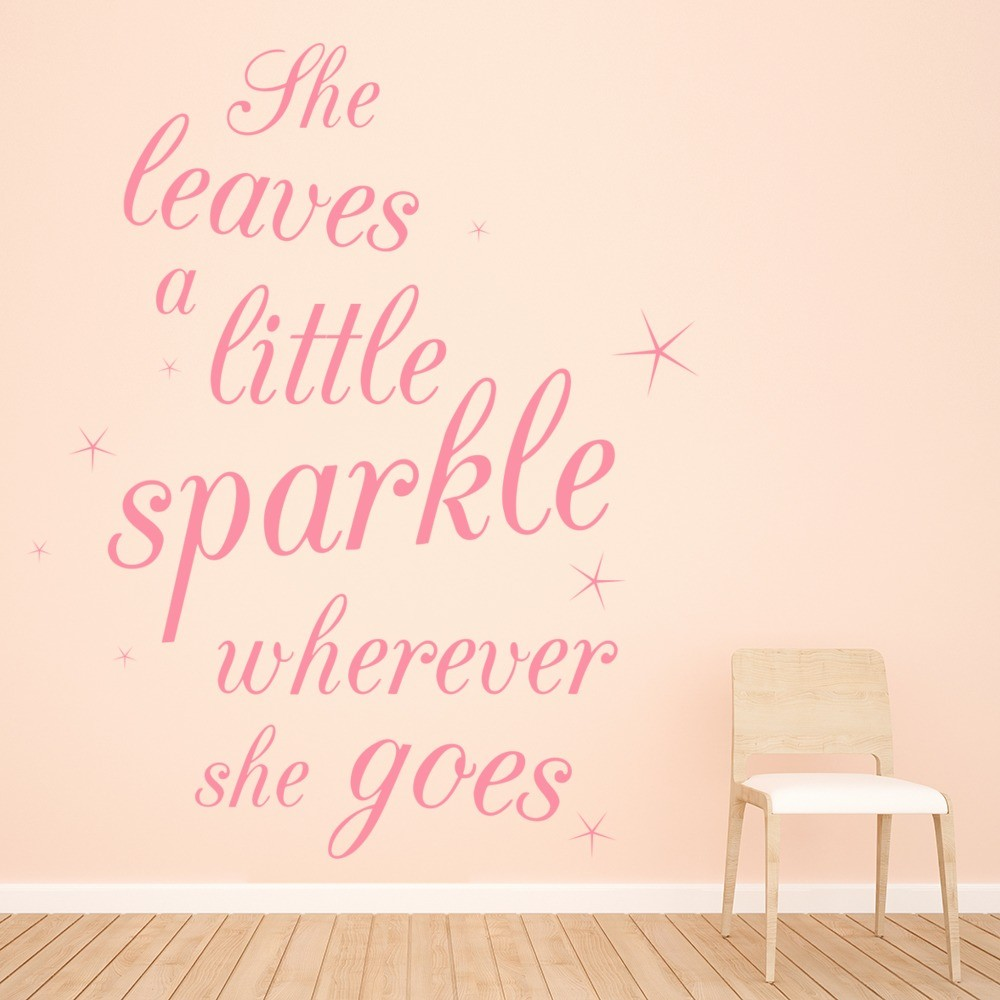 She Leaves A Little Sparkle Wall Sticker Nursery Quote Wall Decal ...