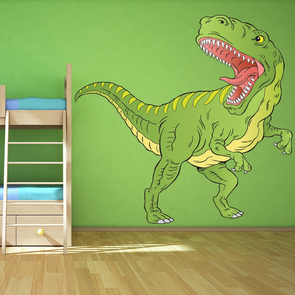 dinosaur wall stickers iconwallstickers co uk green t rex dinosaur wall sticker tyrannosaurus rex wall decal kids room decor