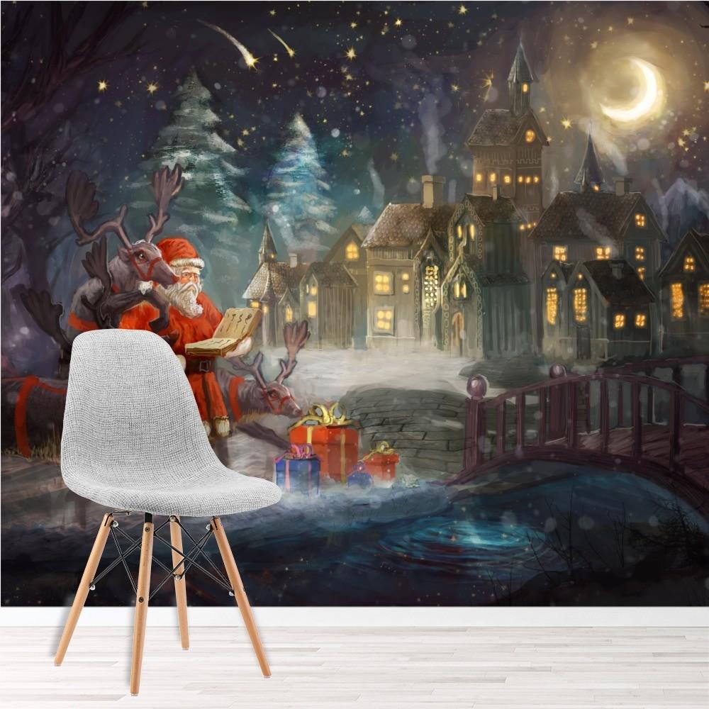 Santa & Reindeer Village Christmas Wall Mural Wallpaper