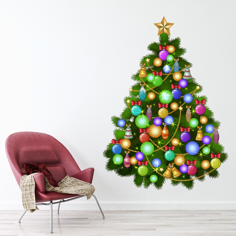 Christmas Tree With Baubles: Christmas Tree Baubles Star Wall Sticker