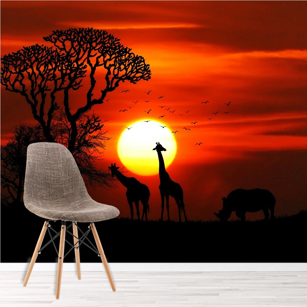 Red Sunset Safari Wall Mural Wallpaper