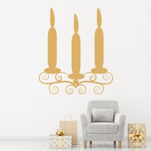 Triple Tier Candle Wall Sticker Christmas Wall Decal Living Dining Home  Decor