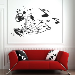 Music Notes Wall Sticker Floral Flowers Wall Decal Bedroom Music Home Decor