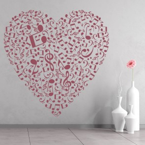 Musical Note Love Heart Musical Notes U0026 Instruments Wall Sticker Music Art  Decal Part 30
