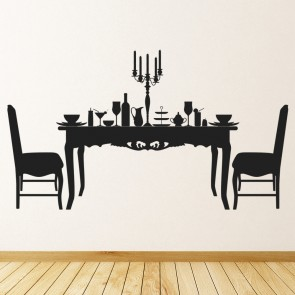 Dining Table U0026 Chairs Food Dinner Dining Room Wall Stickers Home Decor Art  Decal