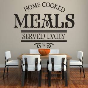 Home Cooked Meals Served Daily Quote Dining Room Wall Stickers Home Art  Decals Part 35