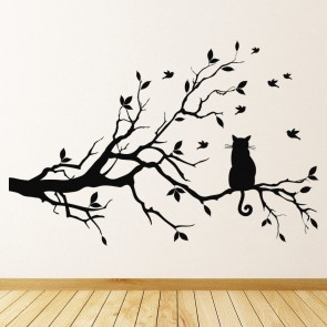 Black Cat Wall Sticker Tree Branch Wall Decal Living Room Kitchen Home Decor