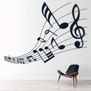 Musical Score Tapered Musical Notes U0026 Instruments Wall Sticker Music Home  Decals Part 90