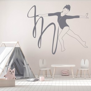 Gymnast Ribbon Wall Sticker Gymnastics Dancing Decal Sport Gym Home Decor