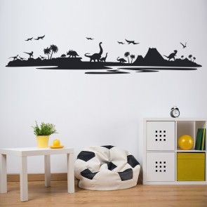 Dinosaur Silhouette Landscape Dinosaur Wall Stickers Childrens Bedroom Art  Decal Part 52