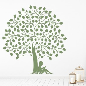 Sitting Under A Tree Silhouette Flowers And Trees Wall Stickers Home Art  Decals Part 41